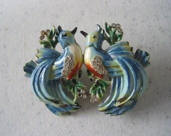 RARE 1930's vintage Coro enamel duette clip brooch love birds