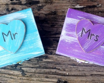 Mr & Mrs Ring Bearer Boxes You Pick Your Colors  Romantic Antique Vintage Inspired Cottage Chic  Alternative Ring Pillow