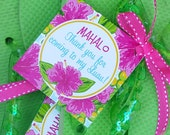 Luau Favor Tags Printable - Instant Download - Watercolor Luau Collection