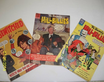 The Beverly Hillbillies Set of 2 and a Bewitched Dell 12 Cent Comic Books 1965 and 1966