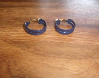 vintage clip on earrings blue enamel hoops