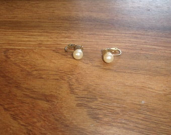 vintage clip on earrings faux pearl bead tiny