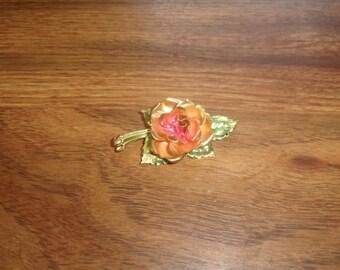 vintage pin brooch pink metal flower