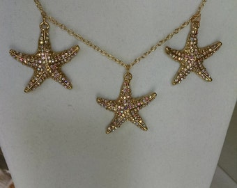 Star Fish Necklace- 3 Gold and Crystal AB Rhinestone Starfish on Gold Chain