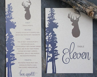 Wedding Menu Rustic Deer Kraft Invitation Suite Elegant Table Number, Place Card, Seating Chart, Invitation Invite