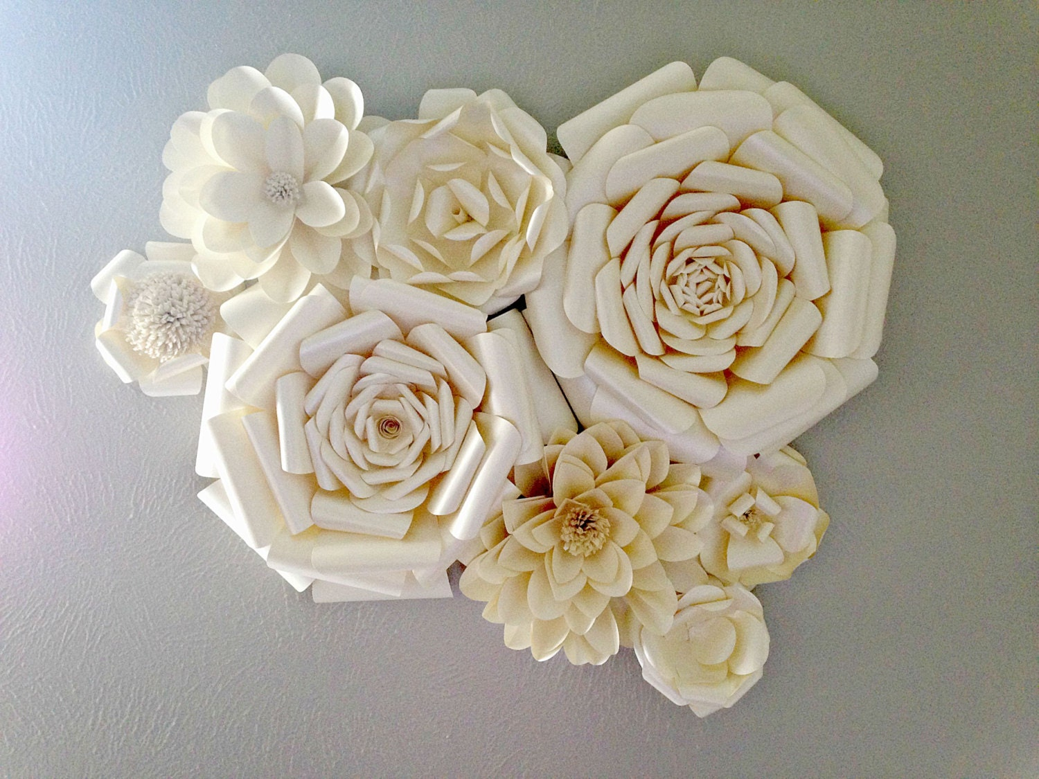 Wall Decoration Paper Flowers : Paper flowers wall decor wedding home