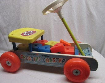 Fisher Price Creative Coaster, wagon, blocks, pull toy, 1960s