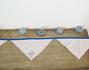 Penelope Bunting Vintage Napkins Linen Upcycled Rustic Shabby Chic Wall Hangings Yale Blue Flower Leaf OOAK Domum Vindemia