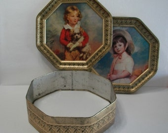 Vintage Victorian Two Sided Metal Tin with Boy and Girl  Double Sided Tin