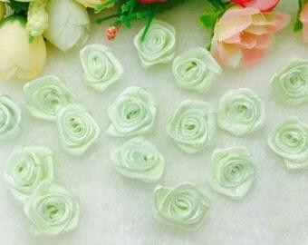 Satin Ribbon Roses-Light Green-15mm-25 PCS