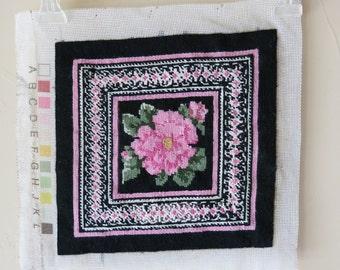 Vintage Completed Wool Needlepoint Canvas Rose Pink Black 539+