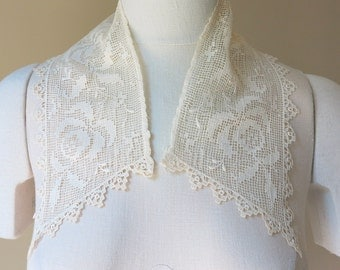 Lace Collar Ecru Filet Lace Schiffli Lace Trim Vintage 610a