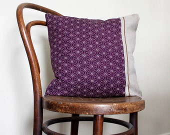 Contemporary pillow cover. Purple Sashiko Wool and Natural Linen.