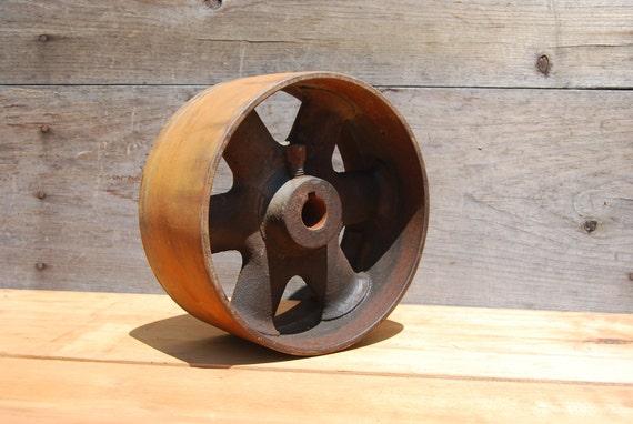 Vintage cast iron flat belt pulley