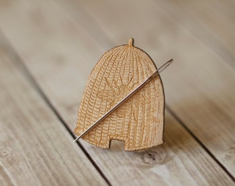 Bee Skep Needle Minder : beehive rabbit wooden wood cross stitch tool needle holder notion mabel lapel pin sewing embroidery stitch tool