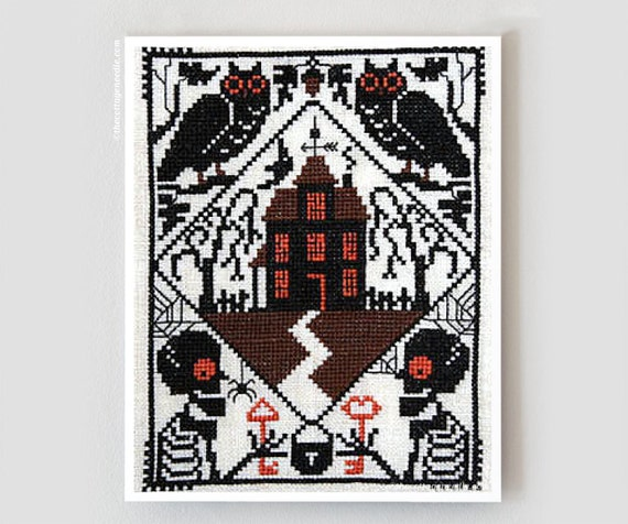 Whoo's There : Prairie Schooler cross stitch patterns Halloween October ghouls raven haunted house harvest Autumn hand embroidery