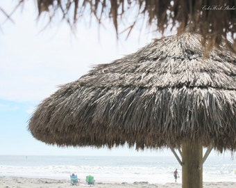 Beach Photography, Coastal Decor, Seaside Print, Beach Photo, Ocean Print, Jersey Shore, Seashore, Straw Umbrella, Nature Photo, Blue, Brown