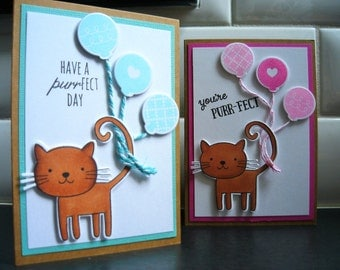 Cat Birthday Card Set of 2, Kitty Birthday Cards, Any Occasion Cat Cards Set, Cat Lover Cards