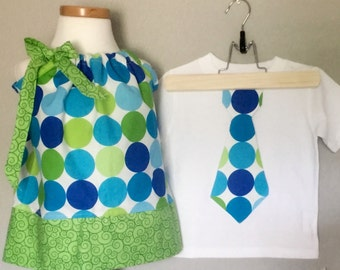 Matching Brother Sister  Fall Clothing. Fall girls dress. Blue Green Polka Dot Dress