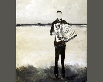 Abstract Ghost Figure Art Print : Accordian Musician Wall Art