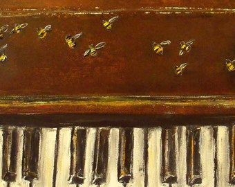 Piano and Bees - New Laura Sue Art print 11x14 Flight of the bumble bees