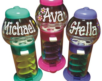 """Personalized Candy Machine / 7.25"""" TALL / Personalized and Gift Wrapped / gumball machine / personalized gumball machine / candy party"""