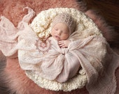 Luxury Newborn Bonnet and Hand-Dyed Premium Cheesecloth Wrap Set Cafe Latte Tan Beige for Boy Girl Fall Spring Summer Photo Prop Set