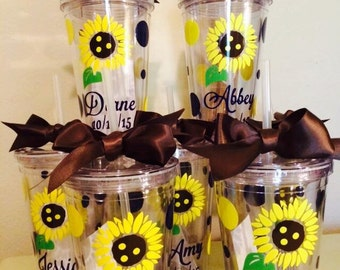 Personalized Sunflower Tumblers - Summer Fun - Summer Party Gifts - Teacher Gift - Destination Wedding Tumblers