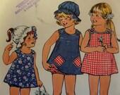 1975 Reversible Shoulder-Button Dress w/Bikini Panties Pattern ~ Simplicity 6951 Child's Size 4. SUNDRESS & HAT PATTERN at WhiletheCatNaps