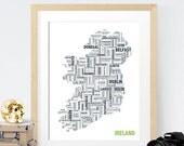 Ireland Typography Map 8x10 Print