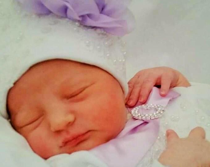 Newborn Girls Lace hospital hat