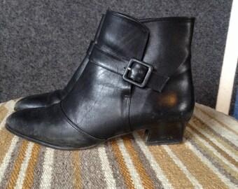 Vintage Amalfi Italian black leather boots W 7.5