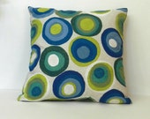 Circles Throw Pillow Cover Blue, Turquoise, Green, Lime Kaufmann Soil and Stain Repellant  Fabric 18 x 18 inch with zipper closure