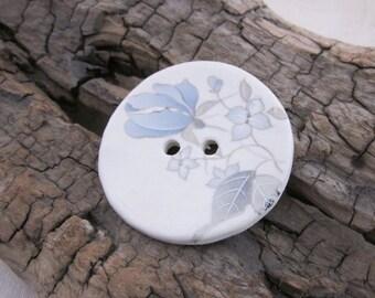 Pale Blue Grey Flower Motif Ceramic Button