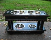 Double Elevated Dog Bowl Feeder, Two Dogs Feeder, Distressed Black, 2 Two Quart Bowls, 1 One Quart and 1 One Pint, Two Tier Feeder
