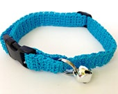 Adjustable Cat Collar Turquoise with Bell