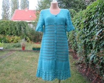 Wool / Hand Knitted Dress / Tunic Vintage / Blue / Buttoned