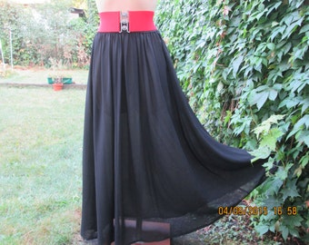 Long Black Skirt Skirt Vintage / Full Black Skirt / Size EUR40 / 42 / 44 / UK12 / 14 / 16 / Elastic Waist / Poly / For Tall
