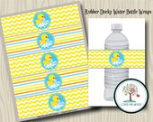 Water Bottle Wraps, Labels, Rubber Duck, Party Printable, Stickers, Instant Download, Printable, Rubber Ducky, Baby Shower, Party Labels