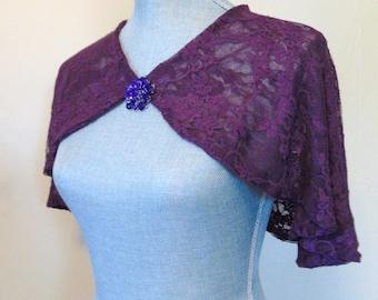 Purple Lace Bridal Capelet, Shrug, Cover Up, Lace Plum Cape, Capelet Bolero, Purple Plum Lace Capelet, Purple Lace Shrug BARONESS