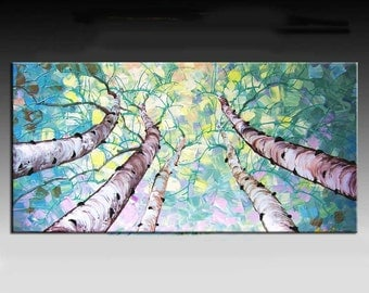 Abstract Painting,  Landscape painting, HUGE Original DEEP Artist Canvas  Textured Palette Knife Painting,   Ready to Hang
