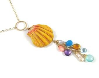 Hawaiian Sunrise Shell Necklace, Long Gold Chain, Colorful Gemstones, Hawaii Beach Jewelry, Wire Wrapped, Orange Pink, Handmade Maui, Boho