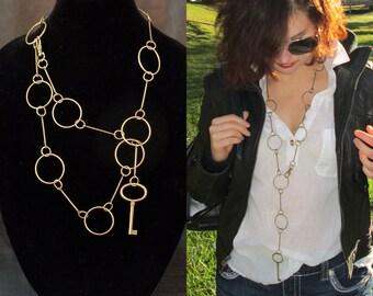 Key charm necklace, modern antique brass tone geometric minimalist lariat key pendant necklace, wrap bracelet