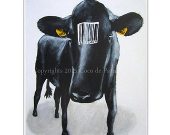 Cow with barcode, Origial Acrylic Painting on canvas, oil painting, handpainted, Original Abstract Painting Animal Art Contemporary Fine Art