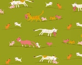 Tiger Lily Marching Cats in Green, Heather Ross, Windham Fabrics, 100% Cotton Fabric, 40931-2