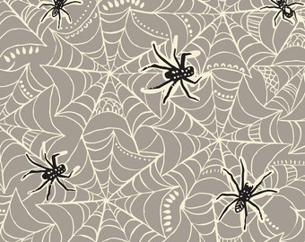 Spooktacular Eve Caught in a Web in Grey, Maude Asbury, Blend Fabrics, 100% Cotton Fabric, 101.107.09.2