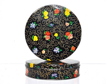 Pair of Black Floral Metal Storage Tins