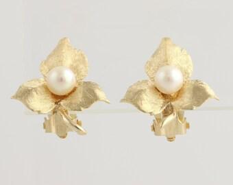 Akoya Pearl Leaf Earrings - 14k Yellow Gold June Gift Stud Clip-On Non-Pierced L3583