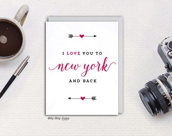 NY Love Greeting Card, I Love You To New York and Back, A2 size, Free U.S. Shipping