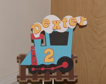 Train Cake Topper, Personalized, Choo Choo, Train party